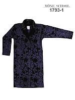 Скидка, Пальто трикотаж шерсть-бархат, синий, ТМ Моне р.152, 158