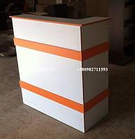 Ресепшн компактного размера, модель V37 цвет белый с оранжевым, фото 1