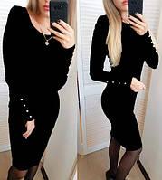 Платье ангора меланж с пуговицами размер 44,48 цвет темно-серый