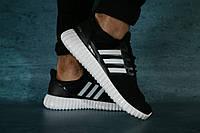 Мужские кроссовки Adidas UltraBoost (черные/белая подошва), ТОП-реплика, фото 1