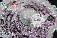 Брокат (конфетти) для ногтей №72 ( Mix , галограмма)