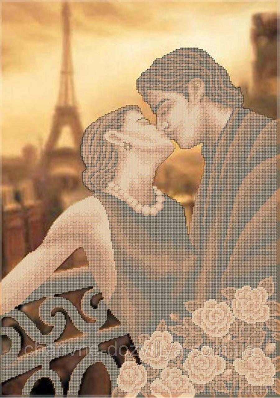 """Схема для вышивки бисером на габардине """"Поцелуй в Париже"""""""