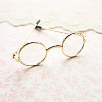 Очки мини для куклы, золото - 6*2 см
