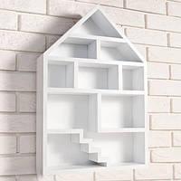 """Деревянная настенная полка """"Dollhouse White"""" декор на стены для гостиной"""