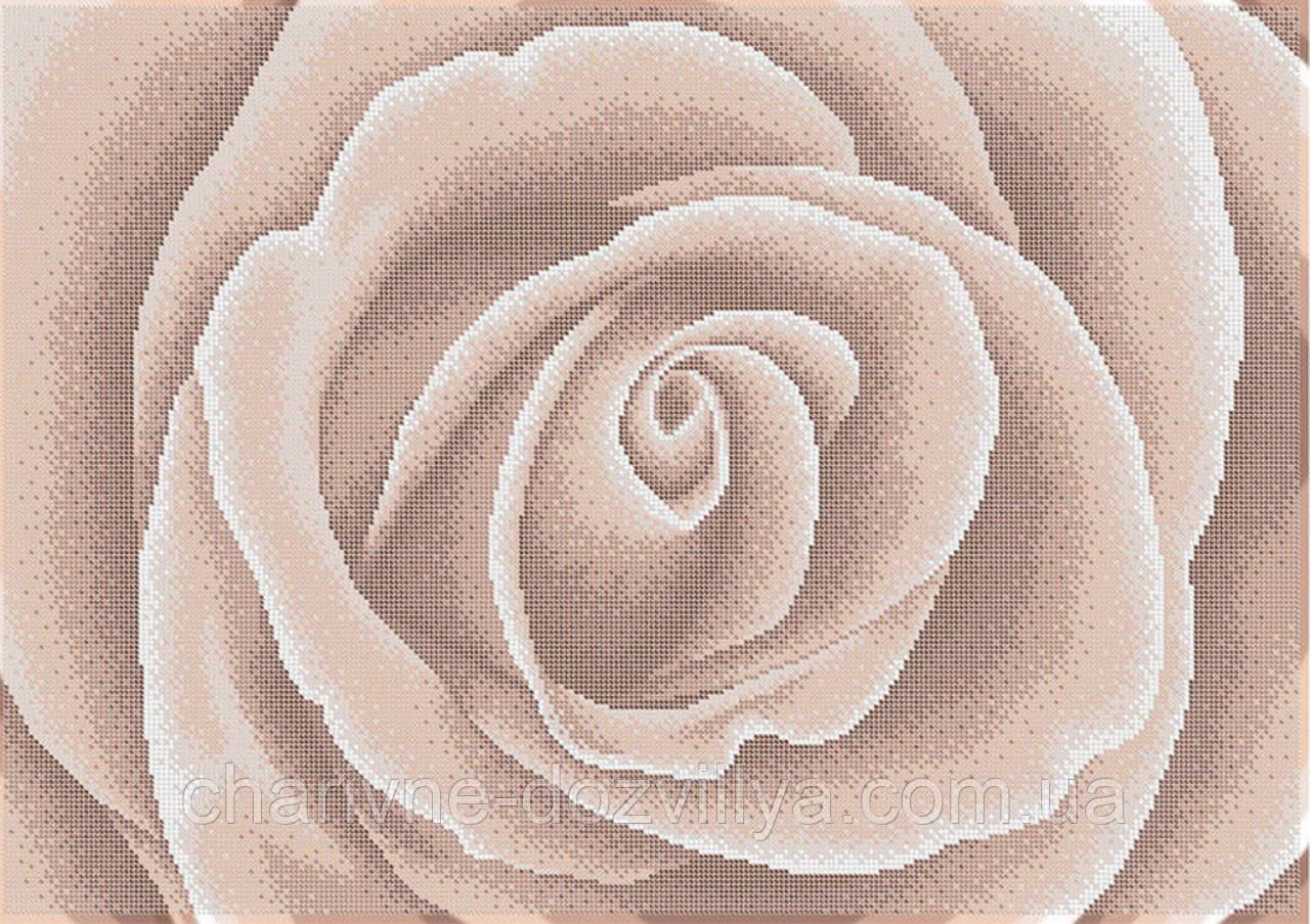 """Схема для вышивки бисером на габардине """"Роза крем-брюлле"""""""