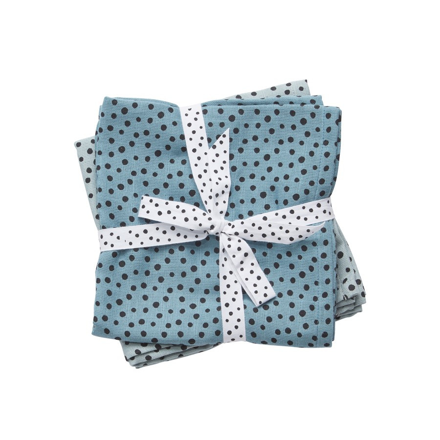 Done by Deer - Комплект муслиновых пеленок 2 шт Happy dots, цвет blue