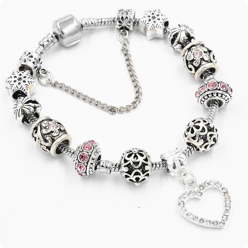 Браслет Pandora Love Snow розовый реплика