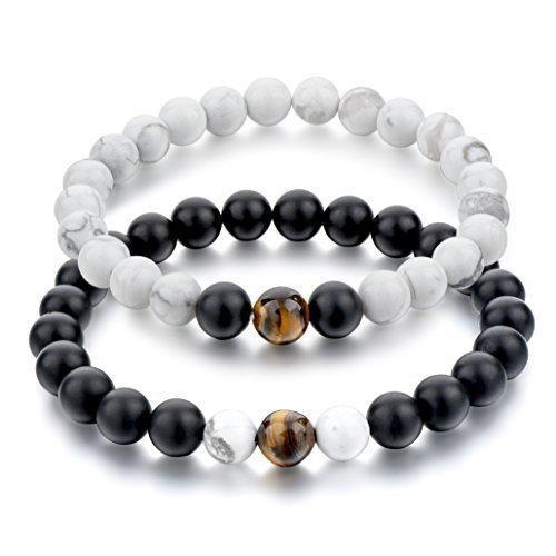 Парные браслеты из Вулканической лавы, Кахолонга и тигрового глаза