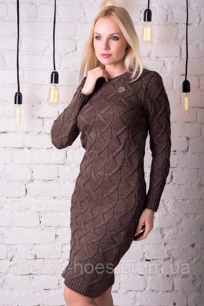 Платье утепленное облегающее коричневое на каждый день.
