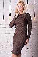 Платье утепленное облегающее коричневое на каждый день., фото 1