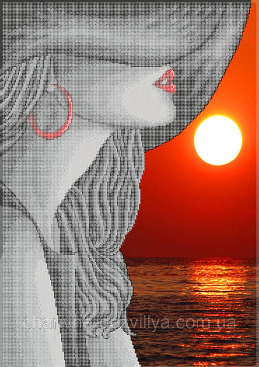 """Схема для вышивки бисером на габардине (красный фон) """"Таинственность и красота"""" (40х60см)"""