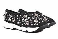 Туфли женские Dior текстиль, декор из камней, цвет черный, белый (платформа, комфорт)