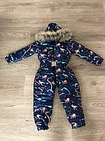 Детский зимний комбинезон для девочек, плащёвка + синтепон 200, р-р 1; 2; 3; 4 (тёмно-синий)