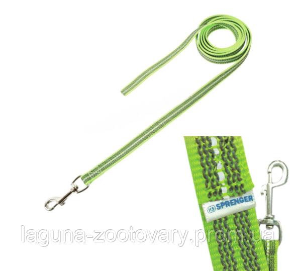 Sprenger прорезиненный поводок 10м/20мм без ручки для собак, нейлон, неоново-зеленый