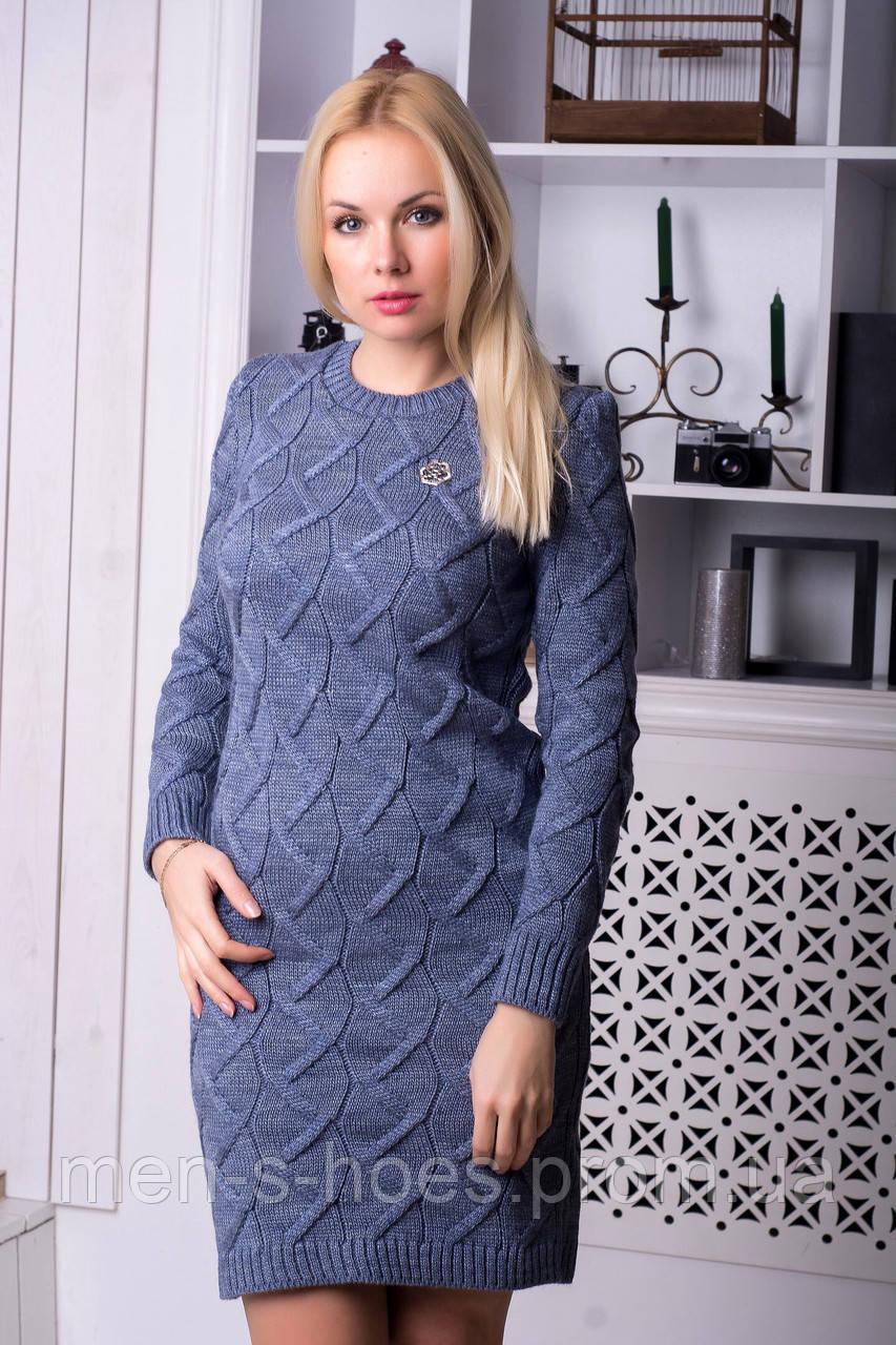 Повседневное женское  утепленное облегающее  однотонное  платье цвета джинс.