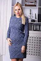 Повседневное женское  утепленное облегающее  однотонное  платье цвета джинс., фото 1