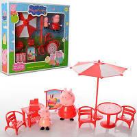 Набор фигурок Свинка Пеппа, 2шт(8см,5см), пикник(стол,стульчики,зонт), в кор-ке