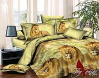 Постельное белье полуторное Львы,магазин постельного