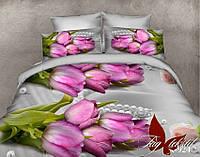 Постельное белье полуторное Розовые тюльпаны,магазин постельного