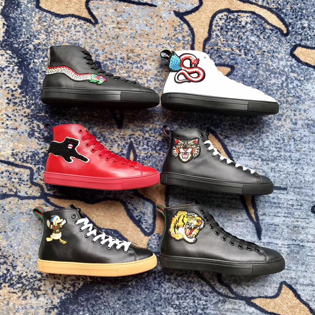 Женские ботинки Gucci кожаные с аппликацией - Люкс реплики брендовых сумок,  обуви в Киеве 2366b0e2785