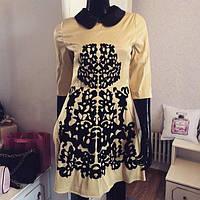 Платье с замшевой аппликацией С29 беж 44р
