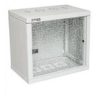 """Шкаф ZPAS 19"""" 10U 600x400Z-BOX, съемные бок. стенки, стекл. дверь,100kg max, серый"""