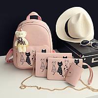 Рюкзак женский Коты 4 в 1 (розовый), фото 1