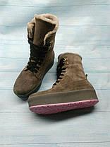 Черевики зимові високі з натуральної замші на шнурівці і товстій підошві хутро мутон (овчина), Код 1251, фото 2