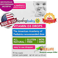 UpSpring, Витамин D3 в Каплях, для Ребенка, 0,68 жидких унций (20 мл), купить, цена, отзывы
