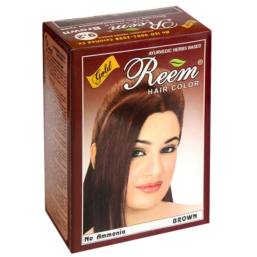 Краска для волос на основе хны — цвет Коричневый Reem Gold, 60г (6пак.по 10г), Триюга-ОМ