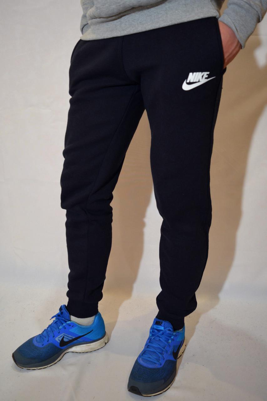 77216600 Темно-синие мужские спортивные штаны Nike (Найк) с манжетами.  Трикотаж-трехнитка