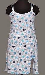 Ночная сорочка женская короткая с разрезом на бретельках (ночнушка) трикотажная хлопковая Украина