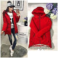 Куртка парка женская (305) зима красный