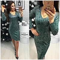 Платье женское (801/2) турецкий трикотаж люрекс зеленый