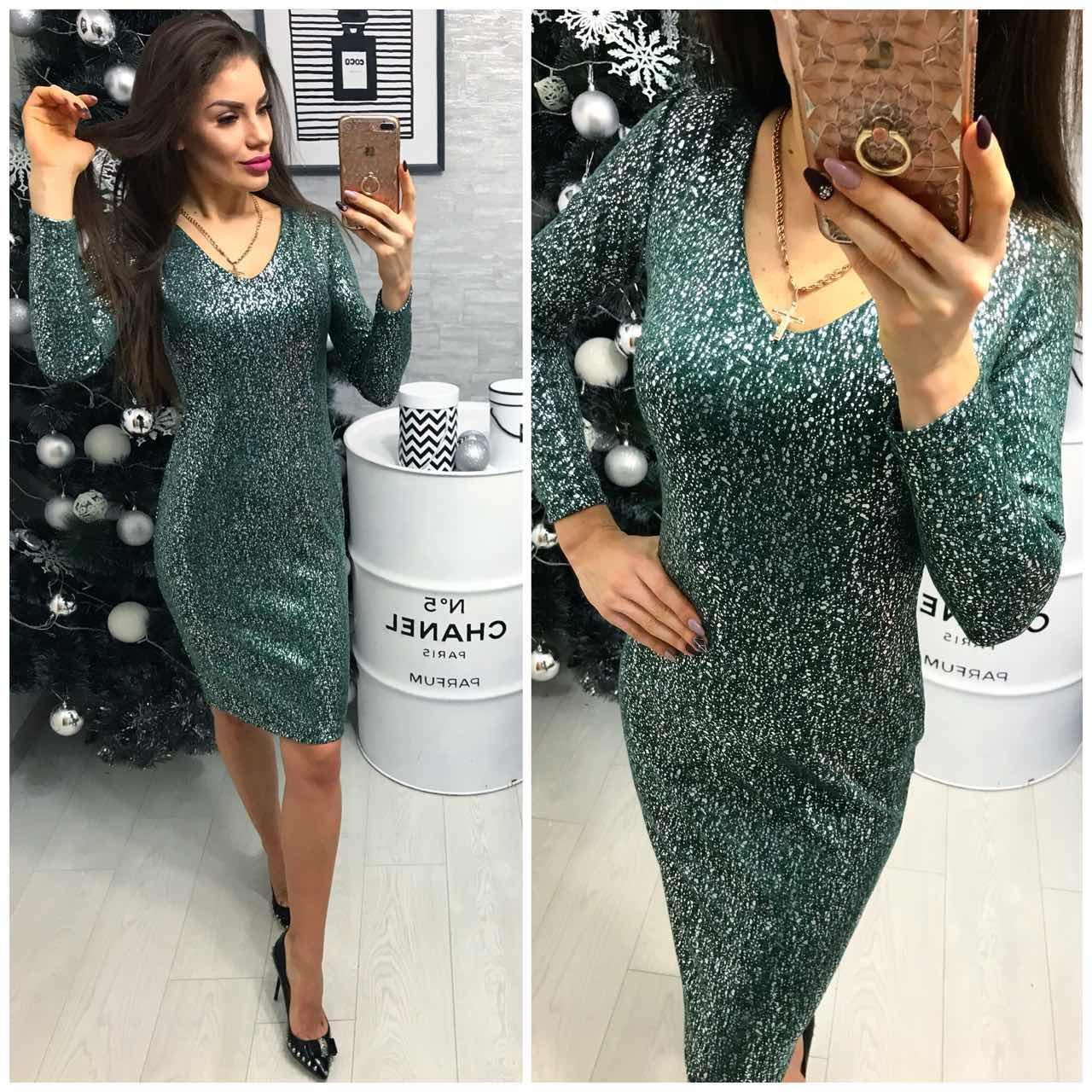 0698ec9a3246 Платье женское (801 2) турецкий трикотаж люрекс зеленый  продажа ...