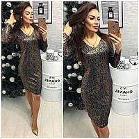 Платье женское (801/2) турецкий трикотаж люрекс темное золото