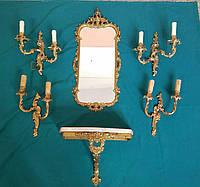 Комплект зеркало столик и 4 подсвечника  начало 20 века