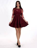 Коктейльное платье гипюр+трикотаж
