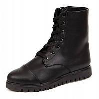 Женские зимние чёрные кожаные высокие ботинки с шнурками и молнией с подкладкой из шерсти на подошве ТЭП