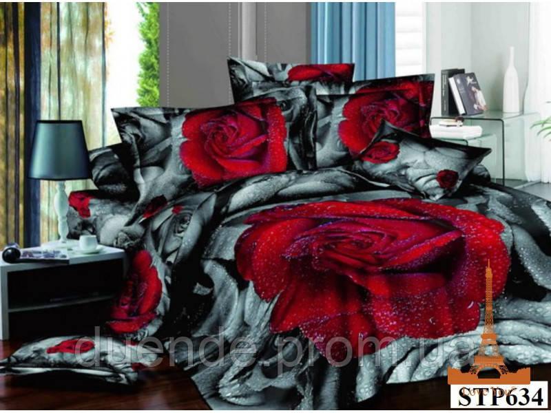e35c02777f59 Постельное белье КПБ полуторный 3D сатин Love you Дикая роза -  Интернет-магазин «Duende