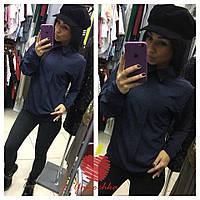 Женская шелковая рубашка в мелкий горошек БАТАЛ, фото 1