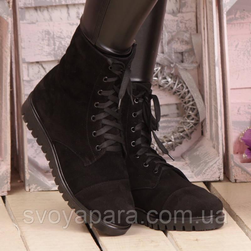 b141732a Женские зимние чёрные замшевые высокие ботинки с шнурками и молнией с  подкладкой из шерсти на подошве