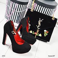 Стильная женская велюровая чёрная сумка с вышивкой тренд 2017