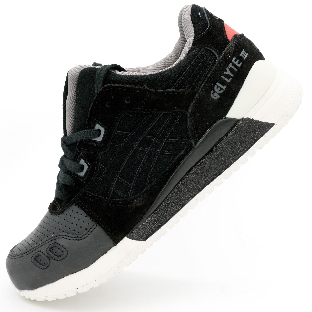 bbb802c3 Черные мужские и женские кроссовки Асикс Asics Gel Lyte 3 натурал кожа р.(42
