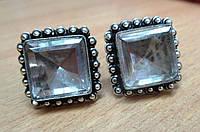 """Квадратные серебряные запонки  с  горным хрусталем """"Дипломат""""  от студии LadyStyle.Biz, фото 1"""