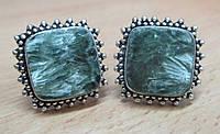 """Элегантные серебряные запонки  с  серафинитом  """"Лесной""""  от студии LadyStyle.Biz, фото 1"""