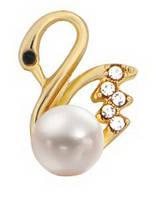 """Украшение """"Лебедь с жемчужиной"""", 17048 цв. золото, фото 1"""