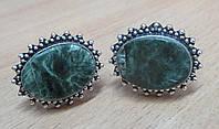 """Овальные серебряные запонки  с  серафинитом  """"Овал""""  от студии LadyStyle.Biz, фото 1"""