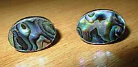 """Овальные серебряные запонки  с  галиотисом """"Всплеск""""  от студии LadyStyle.Biz, фото 1"""