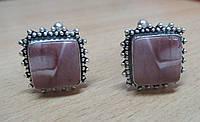 """Нежные серебряные запонки  с  мукаитовой яшмой  """"Шербет""""  от студии LadyStyle.Biz, фото 1"""
